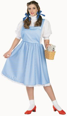 The Wizard of Oz Dorothy Plus Adult Costume - - Includes the famous blue and white gingham dress with attached white blouse. Available in Adult Plus (size This is an officially licensed Wizard of Oz costume. Plus Size Dorothy Costume, Wizard Of Oz Dorothy Costume, Plus Size Costume, The Wizard Of Oz Costumes, Girl Costumes, Adult Costumes, Costumes For Women, Halloween Costumes, Costume Ideas