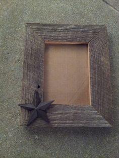 Rustic barnwood frame with star - 8X10 wood frame- 100% reclaimed barnwood frame - western frame - barnwood picture frame