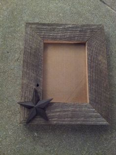 Rustic barnwood frame with star - 8X10 wood frame- 100% reclaimed barnwood frame - western frame - barnwood picture frame