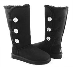 UGG Australia Bailey Button Bling Triplet Black Fur Boots Size 7  I*NEW IN BOX* #UGGAustralia #FashionMidCalf    I OWN THESE AND I LOVE THEM!!!