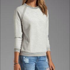Haute Hippie Sweatshirt Xs 65% cotton 35% poly, crystal rhinestone neckline, center back zipper closure, grey Haute Hippie Tops Sweatshirts & Hoodies