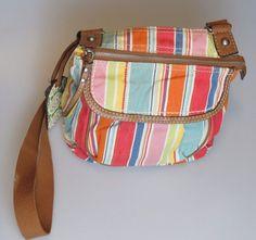 FOSSIL Striped Multi Color Brown Canvas Crossbody Handbag Purse Organizer  #Fossil #MessengerCrossBody