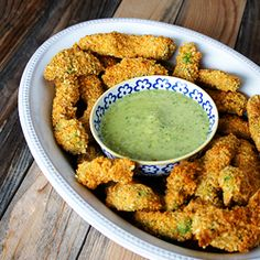 Baked Avocado Fries with Creamy Tomatillo Sauce - a new favorite snack! #foodgawker