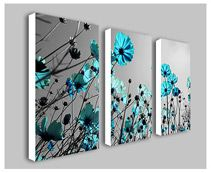 Teal Flowers Split Frame Canvas Picture