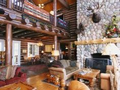 Walloon Lake log home- dark stain/white chink done beautifully
