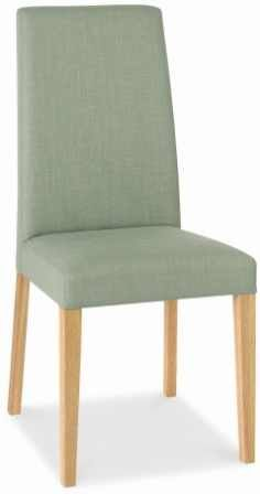 Debenhams Pair Of Duck Egg Blue Miles Tapered Back Upholstered Dining Chairs With Light Oak Legs