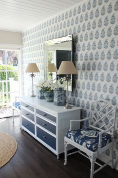 Georgia Pond; this is totally what I want to do painting the dresser...then with blue willow drawer pulls, maybe.