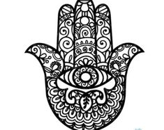 Hamsa Hand Coloring Black and White