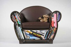 Upholstered Reading Chair with Book Storage, The Hollow Storage Chair by Judson Beaumont Storage Chair, Book Storage, Storage Spaces, Furniture Storage, Book Shelves, Multifunctional Furniture, Modular Furniture, Plywood Furniture, Chair Design