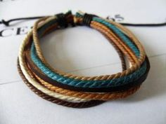 Real Leathers and Cotton Ropes Woven Cuff by braceletcool on Etsy