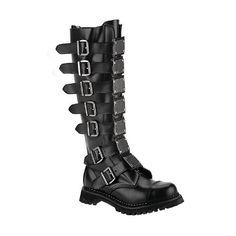 c679d907f5c Demonia Boots Knee Boots w Buckles   Metal Plates - Reaper 30. Rock Chick Leather BuckleBlack Leather BootsBuckle BootsCombat BootsMen s ...