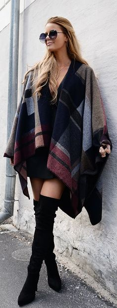 Plaid Poncho Outfit Idea by Annette Haga
