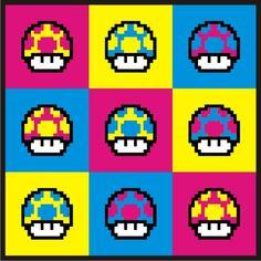 decamillo - Mario Bros - CMYK Mushroom (via deviantart)