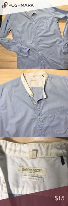 Made and Crafted cotton button down shirt Amazing quality. Made in Italy . 100% cotton. Light baby blue and white collard long sleeve dress shirt . crafted and made by Levi's Shirts Dress Shirts
