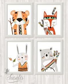 Printable Set of Tribal Animals Prints, Tribal Nursery Wall Art, Tribal Decor, Bear Fox Tiger Rabbit poster kids wall decor DIGITAL FILES Satz von 4 Stammestiere druckbare Stammes-Kinderzimmer Wand von Suselis Nursery Prints, Nursery Wall Art, Scrapbooking Image, Tribal Animals, Tribal Nursery, Tribal Decor, Kids Wall Decor, Nature Drawing, Woodland Nursery