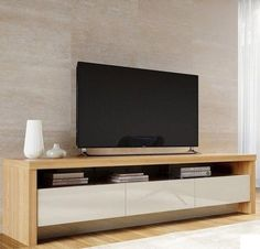 Tv stand in nature wood and off white modern tv cabinet, modern tv wall, . Modern Tv Units, Modern Tv Wall, Modern Tv Stands, Tv Stand Modern Design, White Tv Stands, Tv Wall Design, House Design, Muebles Rack Tv, Modern Tv Cabinet