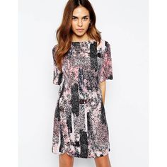 Warehouse Texture Print T-Shirt Dress (90 AUD) ❤ liked on Polyvore