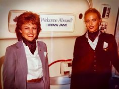 Pan Am Stewardesses Penny Parker and Starley Chocholousekon in B747.