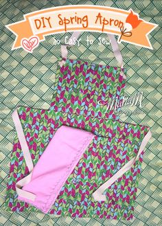 Learn to make spring apron from 3 rectangles (no pattern needed), so easy to sew!