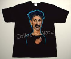 FRANK ZAPPA cartoon 7 CUSTOM ART UNIQUE T-SHIRT  Each T-shirt is individually hand-painted, a true and unique work of art indeed!  To order this, or design your own custom T-shirt, please contact us at info@collectorware.com, or visit  http://www.collectorware.com/tees-frankzappa_andrelated.htm