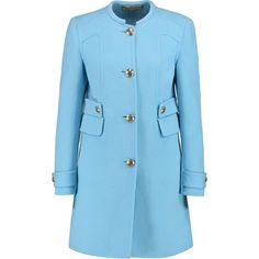 Emilio Pucci Wool and angora-blend coat (€1.050) ❤ liked on Polyvore featuring outerwear, coats, light blue, woolen coat, slim coat, blue coat, wool coat and slim fit wool coat