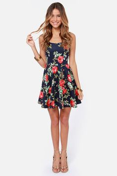 LULUS Exclusive Home Before Daylight Navy Floral Print Dress at LuLus.com! SOoooo cute!!!!