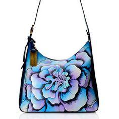 Anuschka Hand-Painted Leather Marigold Design Zip Top Cross Body Bag