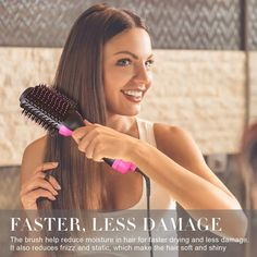 To curl ends, place the hair brush UNDER the ends and hold or 2 to 3 seconds before rotating. 1 x Hair Dryer Brush. For smooth blowouts, place hair brush close to the roots and brush down toward the ends. Damp Hair Styles, Curly Hair Styles, Hair Dryer Brush, Detangling Brush, Silky Hair, Dry Brushing, Wet Hair, How To Make Hair, Hair Tools