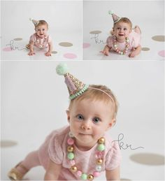 Photographer, photography, pink, gold, mint, birthday, one year old, 1st, milestone, first, pearls, baby girl, birthday hat