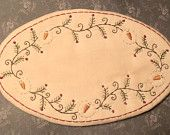 Primitive Stitchery Oval Candle Mat PATTERN Snowman Garland