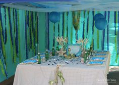 """--I like the photo shown, really has the feeling that you're under water. Check out this link and look at the pics of this party. (I would like it, lol)   ---------------  Photo 1 of 43: Under the Sea/ Mermaid Party / Birthday """"Magical Mermaid"""" 