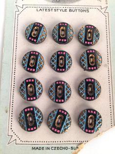 Vintage 20s Czech Glass Buttons Set of 12 Pink by iandrummondstash