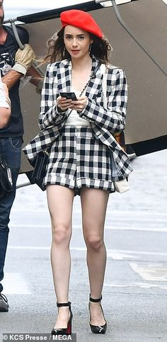 Standing tall: The To The Bone star toned down her eye-catching appearance with a plain cr. Image Blog, Paris Look, Veronica Beard, Lily Collins, Les Miserables, On Set, Winter Outfits, That Look, Spring Summer