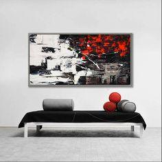 """Abstract Painting, Modern Art, Textured Decor Art, 24x48""""/60x120cm"""