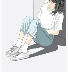 Woman wearing jeans sitting in the sun in the heat.She has a lonely and Sad mood waiting for someone. Cartoon Girl Images, Cartoon Girl Drawing, Cartoon Art Styles, Girl Cartoon, Cover Wattpad, Sad Pictures, Cute Girl Wallpaper, Digital Art Girl, Sad Girl