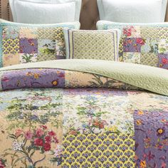 DaDa Bedding Frosted Pastel Gardenia Bohemian Reversible Cotton Real Patchwork Quilted Coverlet Bedspread Set  Bright Vibrant Floral Paisley Colorful Blue Lavender Green Print  Queen  3Pieces * You can find out more details at the link of the image. (This is an affiliate link)