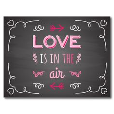 Love Is In The Air Black Chalkboard Postcard