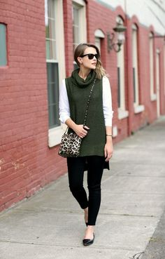 5 Things That You Never Expect In Fall Wardrobe Essentials...olive sleeveless knit sweater, black pants and flats, animal print crossbody bag | Divine Style www.divinestyle.co