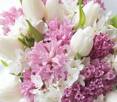 A három tavaszi kedvenc: tulipán, jácint és nárcisz.