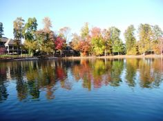 Reflection of fall colors in a Lake Norman cove in The Point