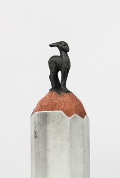 An Alphabet of Animals Carved from Crayons and Other Miniature Pencil Works by Diem Chau sculpture pencils miniature crayons animals alphabe...