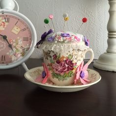 Vintage Style Tea Cup Pincushion