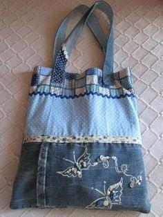 Embroidered denim  bag