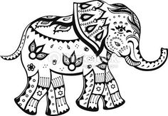 Free art print of Ethnic ornamented baby elephant. The stylized figure of an elephant in the festive patterns Elephant Colour, Elephant Pattern, Elephant Love, Elephant Art, Elephant Tattoos, Baby Elephant Drawing, Elefante Tattoo, Elefante Hindu, Elephant Coloring Page