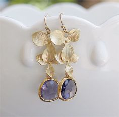 Tanzanite and Gold Earrings  Wedding Jewelry  Gold by FiveThirty, $22.00