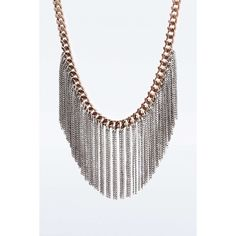 Chain Fringe Necklace ($37) ❤ liked on Polyvore featuring jewelry, necklaces, twist jewelry, fringe jewelry, chain necklace, twisted chain necklace and mixed metal necklace