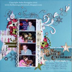 Scrapbook layout , MME papers, Prima Flowers, The Flamingo Chronicals: Christmas Presents - ColourQ #163