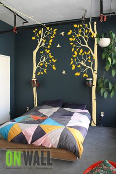 Master bedroom? - brown trunks, green leaves, two birds together on one branch, our tree watercolor in middle space between?
