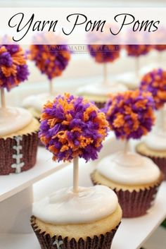 This simple craft tutorial on how to make yarn pom poms will change your life! You'll want to put yarn pom poms everywhere! They are great for party decorations, garlands and banners, and cupcake toppers! Cheerleading Cake, Cheerleader Cakes, Cupcake Toppers, Cupcake Cakes, Cheer Banquet, Football Banquet, Clemson Football, Football Season, Cheer Party