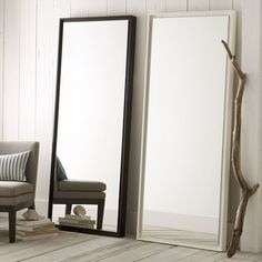 "Floating Wood Floor Mirror | west elm. $399. 30""w x 3""d x 72""h. And here's a super simple one in black."